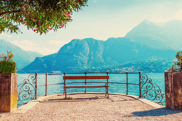 Scenic place with view of Como lake, Italy.