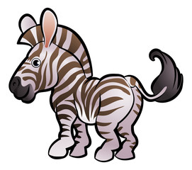Zebra Safari Animals Cartoon Character
