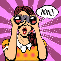 Wow pop art female face. Sexy surprised woman with open mouth holding binoculars in her hands with speech bubble. Colorful vector background in pop art retro comic style.