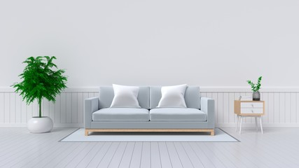 Interior with sofa, plants on empty white wall background. 3D rendering