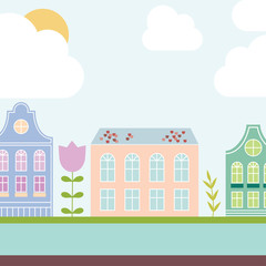 Cute colorful pastel Amsterdam house set.