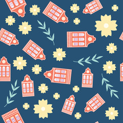 Cute colorful pastel spring Amsterdam house seamless pattern.