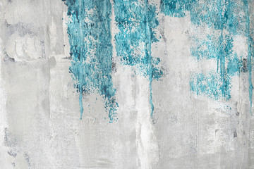 Blue paint on a grunge wall