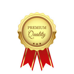 Gold premium quality medal with red tape, isolated on white