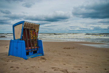 Beach chair at the eastern sea of Germany during summer storm