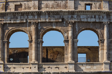 Colosseum - the main tourist attractions of Rome, Italy. Ancient Rome Ruins of Roman Civilization.