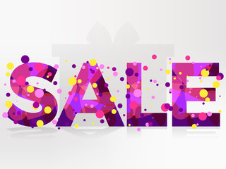 Sale  banner isolated on white background. Bright inscription with colored circles. Vector illustration