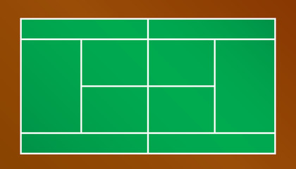 Top view of tennis court.