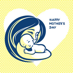 Happy mother with baby - beautiful vector illustration, graphic image, computer icon, label design element.
