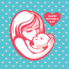 Happy mother with child - beautiful vector illustration, graphic image, computer icon, label design element.