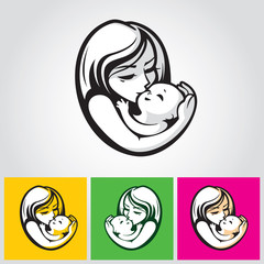 Mother and child - beautiful vector illustration, graphic image, computer icon, label design element.