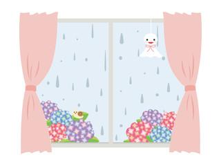 梅雨 紫陽花と窓