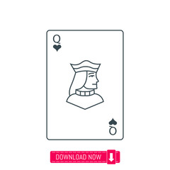 Queen playing card icon, vector