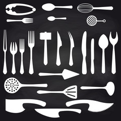 Big white flat crockery set on blackboard background. Vector illustration