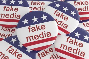 USA Politics News Badge: Pile of Fake Media Buttons With US Flag, 3d illustration