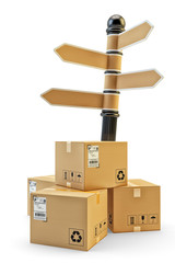 Packages delivery, parcels transportation, logistics and distribution concept, stack of cardboard boxes near direction sign, isolated on white