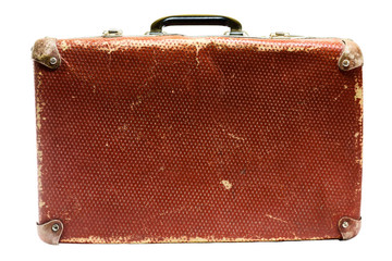 Old vintage suitcase on a white background.