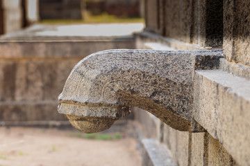 Water spout in stone at Hindu temple in South India
