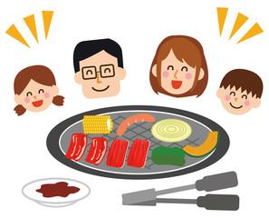 焼肉と家族のイラスト