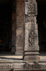 Stone pillar with sculpture in hindu temple