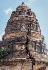 In ruin Gopuram (tower) hindu temple cracked and broken