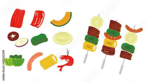 焼肉bbq食材のセットイラストfotoliacom の ストック画像と