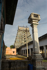 Tower (gopuram) of ancient hindu temple in Tamil Nadu, India