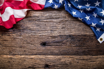 USA flag. American flag. American flag on old wooden background.