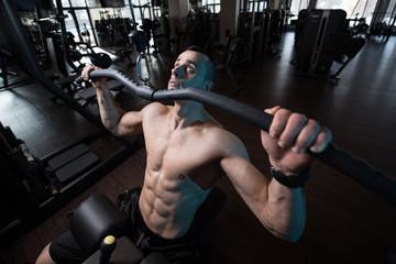 Bodybuilder Exercising Back In Gym