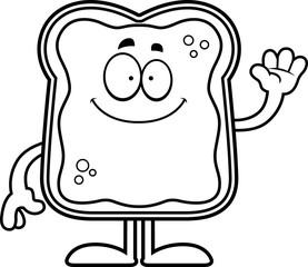 Cartoon Toast With Jam Waving