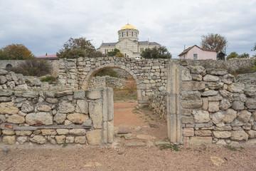 the ruins of the ancient Greek polis Chersonese in Sevastopol, Crimea, UNESCO
