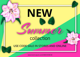 Summer sale banner template with paper flower on colorful background. Vector illustration