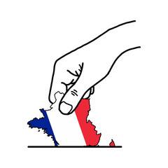 hand voting with french map with color flag color vector illustration