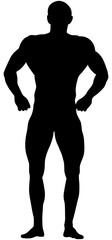 muscular athletic bodybuilder in relaxed pose black silhouette