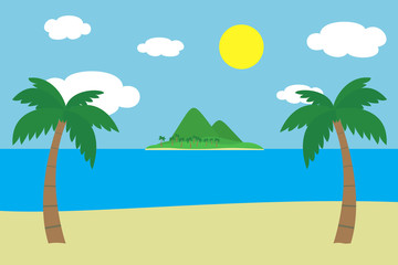View of a tropical sandy beach with two green palm trees on the sea shore with an island with hills and mountains covered with grass and palm trees under a summer blue sky with clouds and glowing sun
