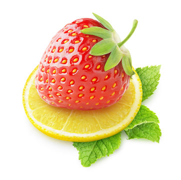 Isolated fruits. Fresh strawberry and slice of lemon isolated on white background with clipping path