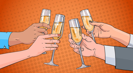 Hands Group Clinking Glass Of Champagne Wine Toasting Pop Art Retro Pin Up Background Vector Illustration