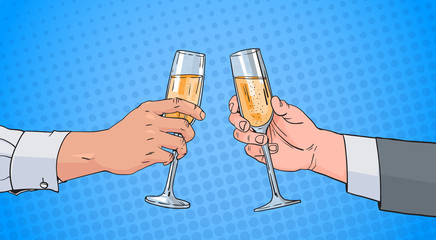 Male Couple Hands Clinking Glass Of Champagne Wine Toasting Pop Art Retro Pin Up Background Vector Illustration