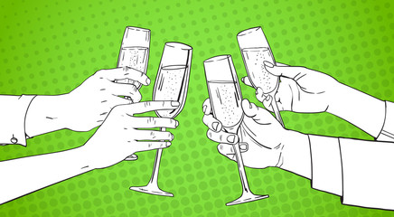 Sketched Hands Group Clinking Glass Of Champagne Wine Toasting Pop Art Retro Pin Up Background Vector Illustration