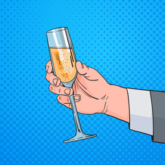 Male Hand Holding Glass Champagne Wine Pop Art Retro Pin Up Background Vector Illustration