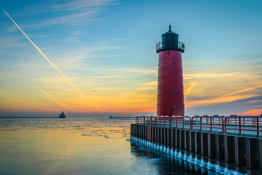 Red Lighthouse at Sunrise