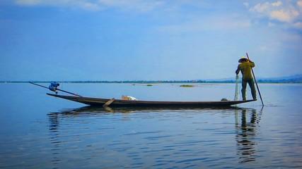 Fisherman on  inlay lake in Myanmar