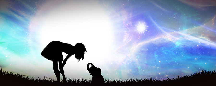 Who are you my little friend - girl and elephant silhouette art photo manipulation
