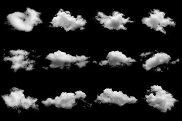 Aluminium Prints Heaven Set of isolated clouds on black