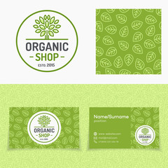 Organic shop set with logo consisting of tree, leaves pattern and cards for nature firm, natural product market, ecology company, green unity, garden, farming. Vector Illustration