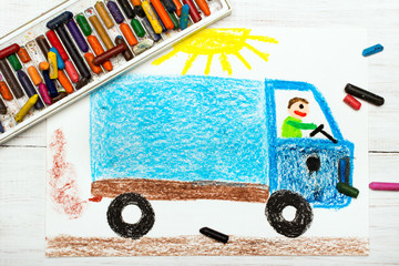 Colorful drawing: man in a blue truck