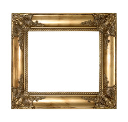 copper vintage picture and photo frame isolated on white background