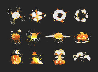 Explosion icons set on black background. Cartoon comic boom effects.