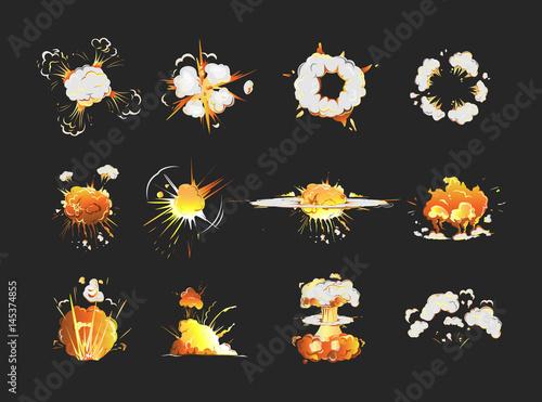 Explosion icons set on black background  Cartoon comic boom