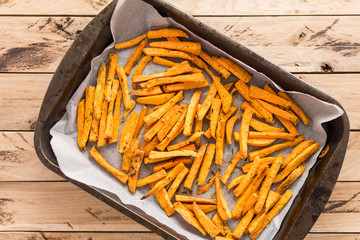 Healthy sweet potato, baked fries.